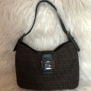 💯% Authentic FENDI Leather Trimmed Zucca Hobo